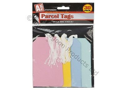 30 Tie On Parcel Luggage Tags Gift Card Label Parcel Kraft Strings Scallop
