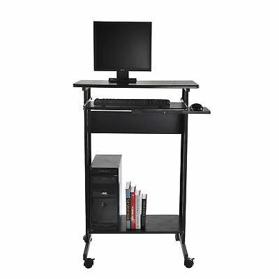 HOMCOM Home Office Wheeled Computer Desk Laptop Table Workstation w/Casters Tray