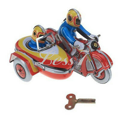 Wind Up Vintage Tin Toy Clockwork Motorbike Side Car Motorcycle Collectible Gift