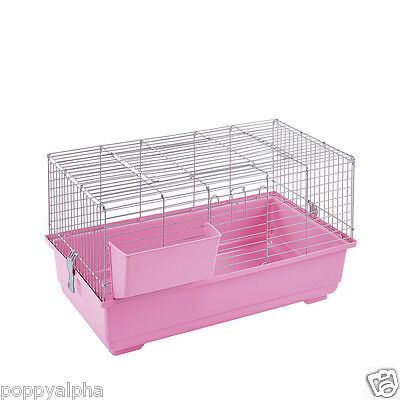 LITTLE FRIENDS NEW RABBIT/GUINEA PIG INDOOR CAGE PINK - 80cm WITH ACCESSORIES