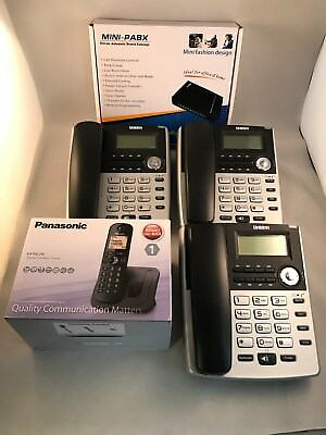 Simple Self Install PBX 3 Line Telephone System - 3 BT Phones + 1 Cordless NEW