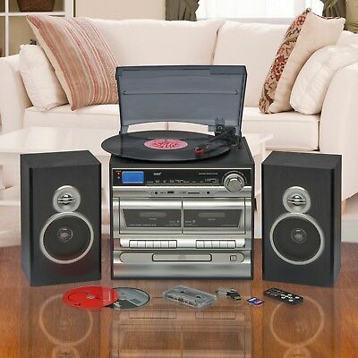 Hi-Fi Music System AM FM Radio CD Stereo Record Tape Player USB SD with Speakers