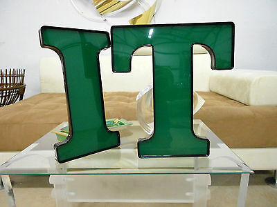 """Cool Old Letters Spell """"dentist"""" Or Other Lrg Green Lucite Xlnt Mid Century"""