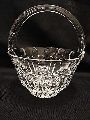 "Vintage Cut Glass Floral Basket - 8"" Tall6 5/8"" Wide - Beautiful! See Pics"