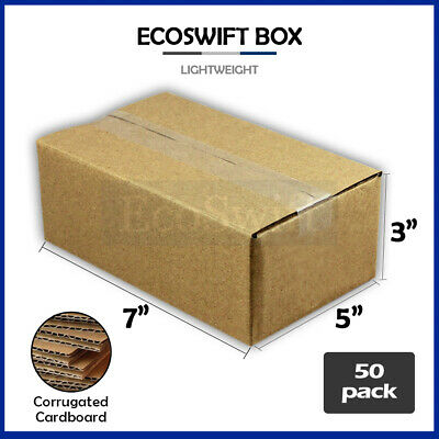 50 7x5x3 Cardboard Packing Mailing Moving Shipping Boxes Corrugated Box Cartons