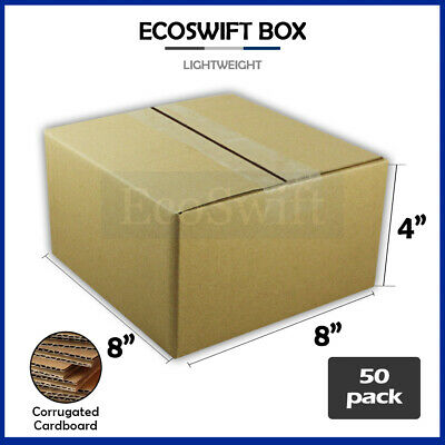 50 8x8x4 Cardboard Packing Mailing Moving Shipping Boxes Corrugated Box Cartons