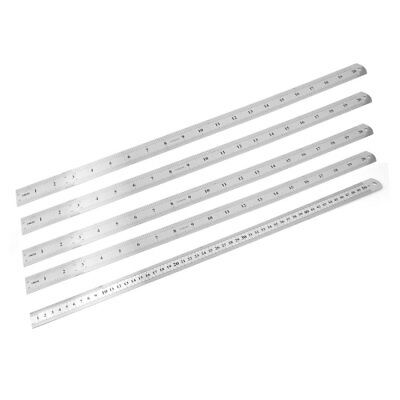 """5 Pcs Double Sides Stainless Steel Metric 50cm 20"""" Scale Straight Rulers"""