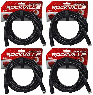 (4) Rockville RDX3M25 25 Foot 3 Pin DMX Lighting Cables 100% OFC Female to Male