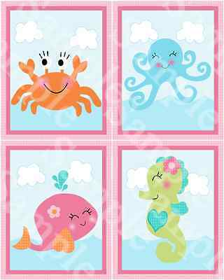 "A set of 4 ""Under the Sea Pink Whale"" 8x10 Nursery Art Prints"