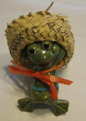 Ceramic Frog Laying Down with Woven Hat