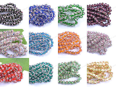 Flower Inside Faceted Rondelle Lampwork Czech Glass Spacer BEADS 10MM 12MM