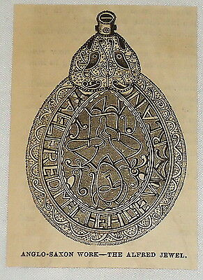 small 1881 magazine engraving~THE ALFRED JEWEL~ Anglo-Saxon work ~ GREAT BRITAIN