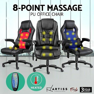 8 Point Massage Office Chair Racing Executive Recliner Computer PU Leather