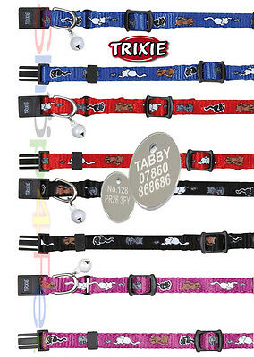 TRIXIE REFLECTIVE Kitten Size Cat Collar With or Without a ENGRAVED PET ID TAG