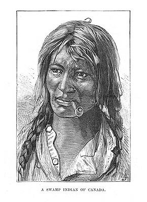 A Swamp Indian of Canada - Antique Print 1886