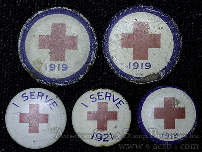 21mm Lot 5 Vintage WW1 Red Cross Button Pic Lapel 1919 1921 I serve 20mm 15mm.
