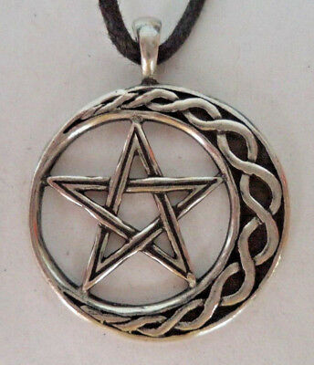 Wicca Stability Amulet / Talisman, Pewter + Cord (Moon Star Ritual Magick)