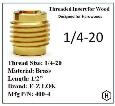 E-Z Lok P/N 400-4, 1/4-20 Threaded Brass Insert For Wood (25 Pieces)