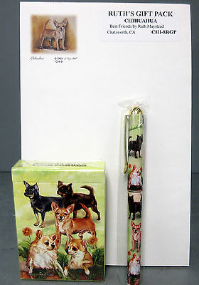 New Chihuahua Dog Playing Card Pen & Note Pad Gift Set by Ruth Chihuahuas Dogs