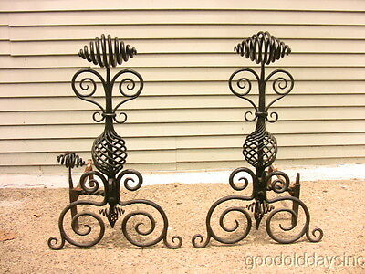 "Huge 32"" tall Antique Roycroft Wrought Iron Andiron Unique Design Outsider art"