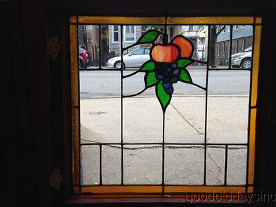 "Nice Antique Grape & Fruit Stained Leaded Glass Window 23"" by 23"""