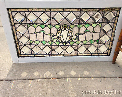 "Beautiful Victorian Stained Glass Transom Window w Bevels & Jewels 36 1/2"" x 21"""