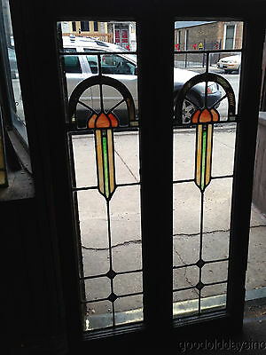 "Pair of Antique Chicago Stained Leaded Glass Doors Door / Window 45"" by 13"""