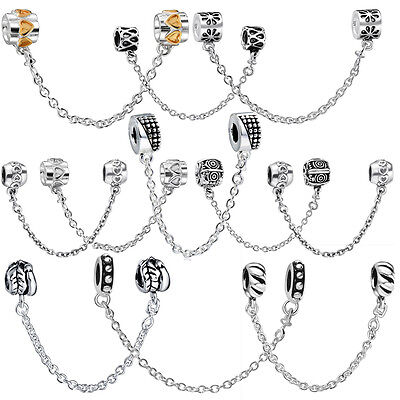 Classical saftey chain Fit sterling silver charms Bead Bracelet Bangle Necklace