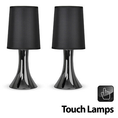 Pair of Modern Black Chrome Touch Dimmer Bedside Table Lights Lamps
