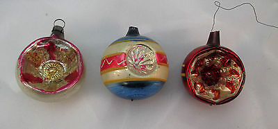 3 Vintage Hand Painted Glass Ball Christmas Ornaments  ****
