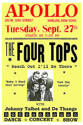 Motown Greats: The Four Tops at The Appollo Theatre Concert Poster 1966