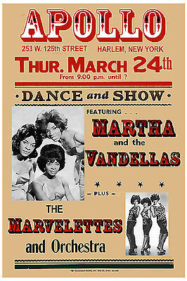 Motown Greats: Martha & the Vandella at The Apollo Theatre Concert Poster 1967