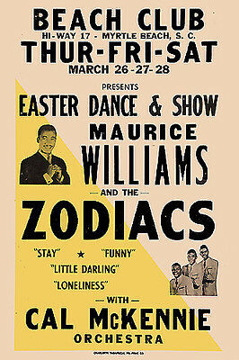 Doo Wop: Maurice Williams & The Zodiacs at Myrtle Beach Concert Poster 1964