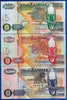 Zambia P-36,37,38 Uncirculated SET-4 Africa SHIPPING .99 CENTS