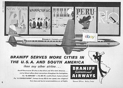 Braniff International 1957 Dc-7C El Dorado Braniff Serves More Cities Usa Ad