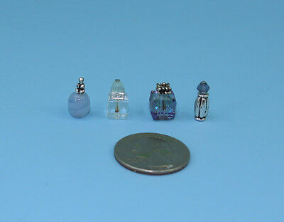 Beautiful Set of 4 Dollhouse Miniature Perfume Bottles for your Vanity #PS1