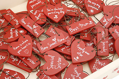 Small Red Wooden Heart Hanging Sign Little Novelty Word/Sayings Gift Tags Xmas