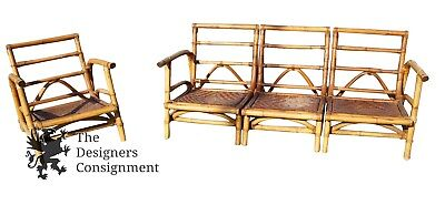 Sculptural Bamboo Rattan Patio Lounge Chair & Sofa By Calif-Asia Milo Baughman