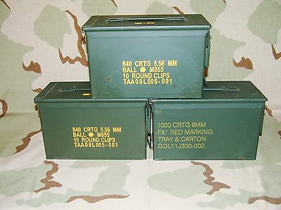 Lot of 3 M2A1 50Cal Ammo Cans Storage Boxes Army Surplus MADE IN USA Grade 2 VGC
