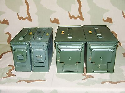 Two 30cal M19A1 Ammo Cans + Two 50cal M2A1 Ammo Cans Grade 2 Army Surplus Combo