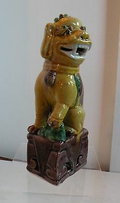 3m204 OLD CHINESE FU DOG PORCELAIN POTTERY FIGURINE FOO DOG