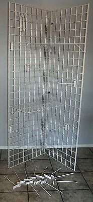 Heavy White WIRE GRID DISPLAY RACK + 2 SHELVES + 15 HANGERS Craft Sales & More