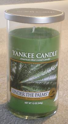 """Yankee Candle """"Under the Palms"""" 12 oz. Pillar Jar Candle w/ Lid BRAND NEW"""