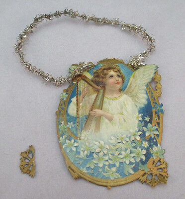 Vintage Victorian Card Angel Playing The Harp Christmas Ornament  ***
