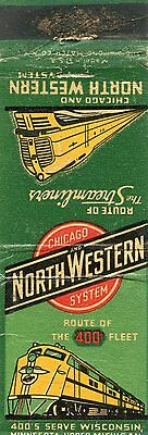 Chicago and North Western Railroad System, Streamliners Matchbook