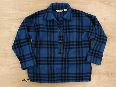 vtg usa made Woolrich for LL BEAN wool pullover sweatshirt MEDIUM plaid blue