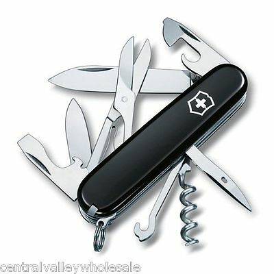 New Victorinox Swiss Army 91mm Knife   BLACK CLIMBER & Leather Pouch 53383.5