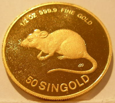 Singapore 1984 Gold 1/2 oz 50 Singold Year of The Rat