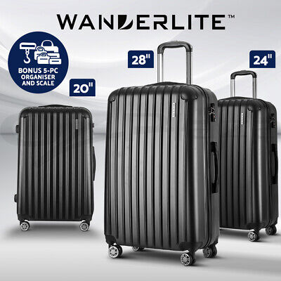 Wanderlite 3pc Luggage Sets Suitcase Set TSA with Scale Storage Organiser BK