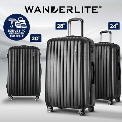 Wanderlite Luggage Sets Suitcase 3pc Set TSA with Scale Storage Organiser BK